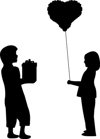 february 14th: Boy and girl for Valentine s Day give gifts to each other, 14th February silhouette