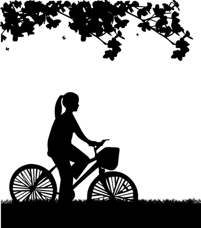 similar images: Young woman ride bike in park in spring silhouette, one in the series of similar images