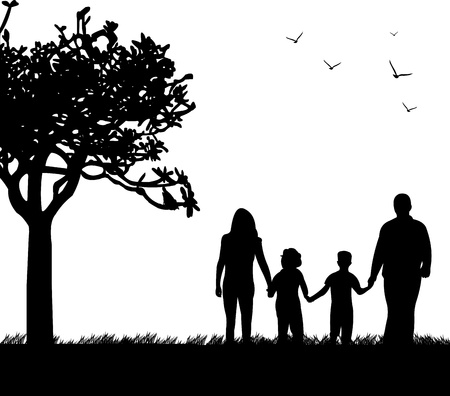 famiglia in giardino: Famiglia a piedi nel parco in primavera, silhouette, uno nella serie di immagini simili