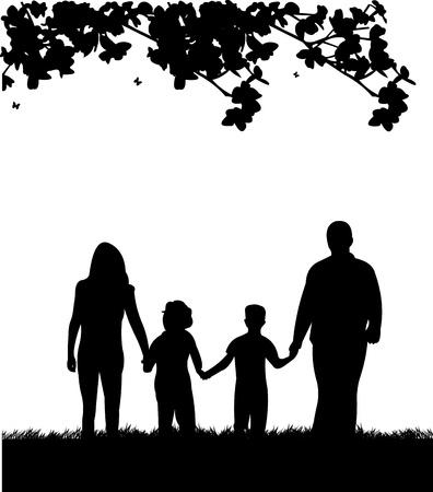 family one: Famiglia a piedi nel parco in primavera, silhouette, uno nella serie di immagini simili