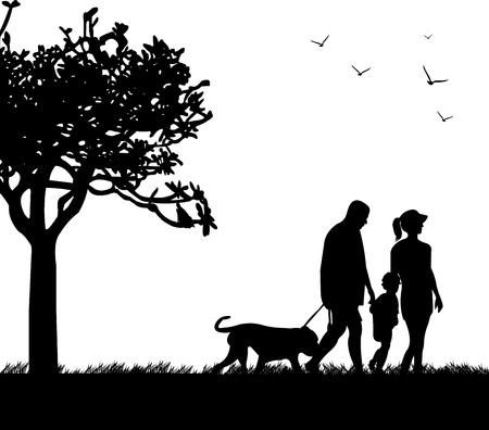 kind silhouet: Familie wandelen in het park met hond in de lente silhouet, een in de reeks van gelijkaardige beelden