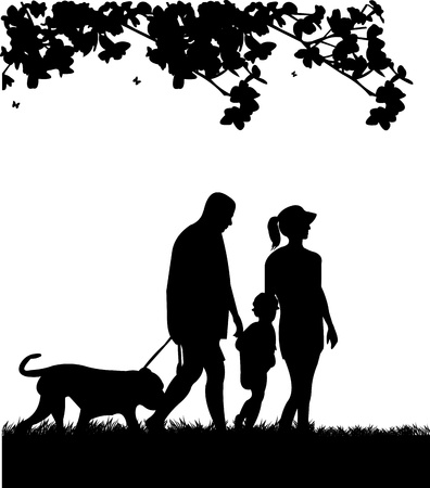 Family walking in park with dog in spring silhouette, one in the series of similar images
