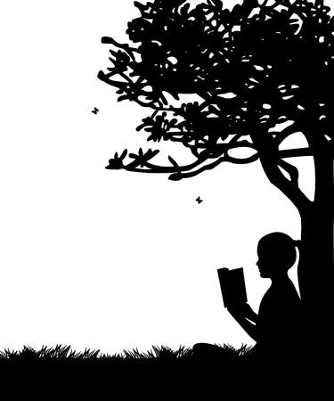 Meisje het lezen van een boek onder de boom in het voorjaar in het park of de tuin silhouet