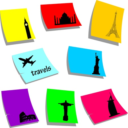Travels symbols or icons around the world, sticky colorful memo note papers, one in the series of similar images silhouette  Vector