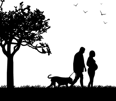 Pregnant woman and her husband walking with his dog in the park in spring silhouette, one in the series of similar images Stock Vector - 17612051