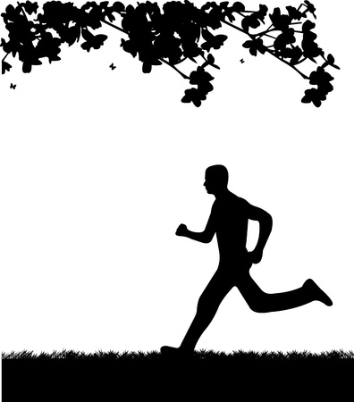 Man running in park in spring silhouette, one in the series of similar images  Vector