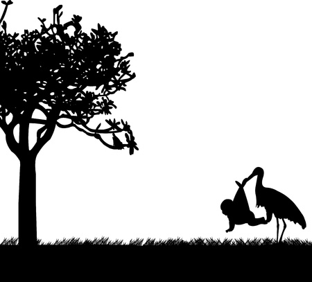 stork delivering a baby:  Stork with a baby in a bag in park in spring silhouette