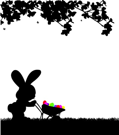 Easter bunny pushing carts full of Easter eggs in the park silhouette Vector
