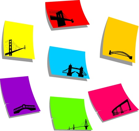 suspension bridge: The most famous bridges of the world silhouette on sticky memo paper