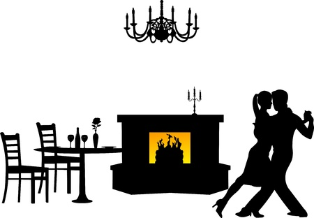 woo: Couple in love on Valentine s Day in living room or restaurant dancing silhouette, one in the series of similar images