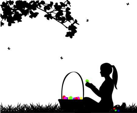coloring easter egg: Girl coloring Easter eggs sitting in park in spring silhouette Illustration