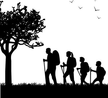 Hiking family with rucksacks in park in spring silhouette, one in the series of similar images  Illustration