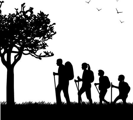 lifestyle family: Senderismo familiar con mochilas en el parque en primavera silueta, uno en la serie de im�genes similares