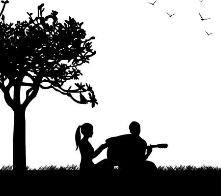 siluetas de enamorados: Pareja en el amor donde un chico toca la guitarra en el parque bajo la silueta del árbol Vectores