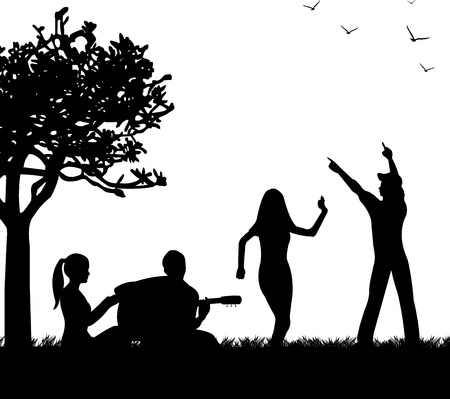 Girls and boys having fun in the park where a guy playing guitar silhouette