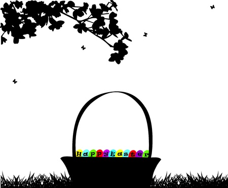 Easter basket with Easter eggs under the tree silhouette Vector