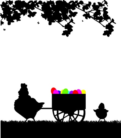 Easter rooster pushing carts full of Easter eggs in the park silhouette Vector