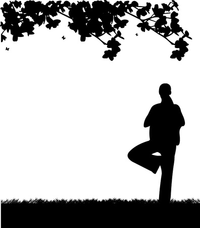 An isolated girl meditating and doing yoga exercise under the tree in park in spring silhouette, one in the series of similar images  Stock Vector - 18056640