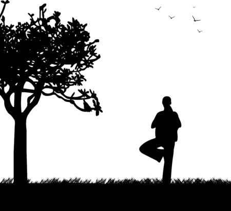 An isolated girl meditating and doing yoga exercise under the tree in park in spring silhouette, one in the series of similar images Stock Vector - 18056632