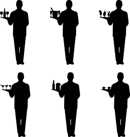 men bars: Beautiful young waiter standing and holding a round tray with different drinks silhouette, one in the series of similar images