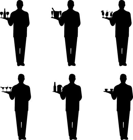 charolas: Camarero joven hermosa de pie y sosteniendo una bandeja redonda con diferentes bebidas silueta, uno en la serie de imágenes similares
