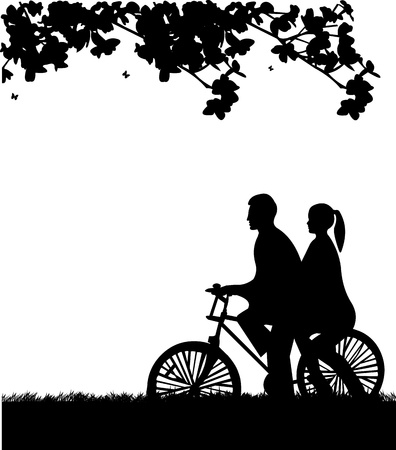 profile: Couple bike ride in park in spring silhouette, one in the series of similar images  Illustration