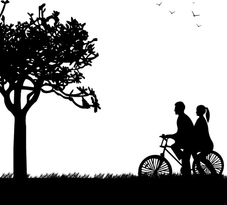bicycling: Couple bike ride in park in spring silhouette, one in the series of similar images  Illustration