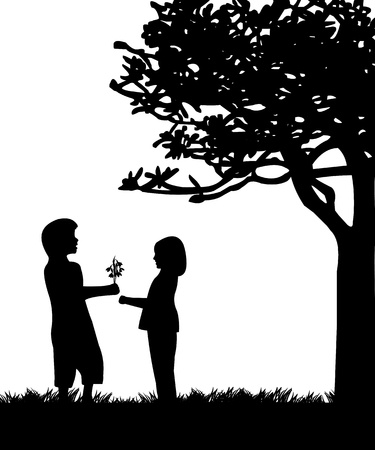 woo: Boy gives a girl flowers, bouquet snowdrops in park under the tree silhouette