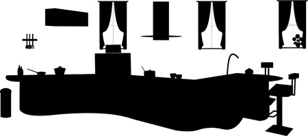 bar stool:  Kitchen interior silhouette, one in the series of similar images Illustration