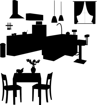 lifestyle dining:  Kitchen interior silhouette, one in the series of similar images Illustration