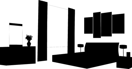 apartment suite: Part of a modern bedroom interior with modern furniture silhouette