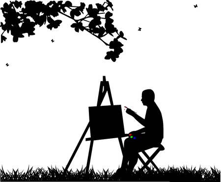 Artist painter man in park painting silhouette, one in the series of similar images  Illustration