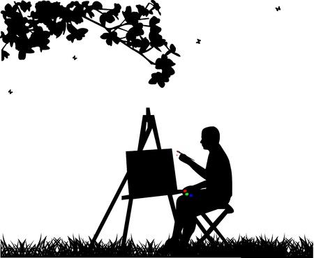 hombre pintando: Artista pintor hombre en silueta parque pintura, uno en la serie de imágenes similares Vectores
