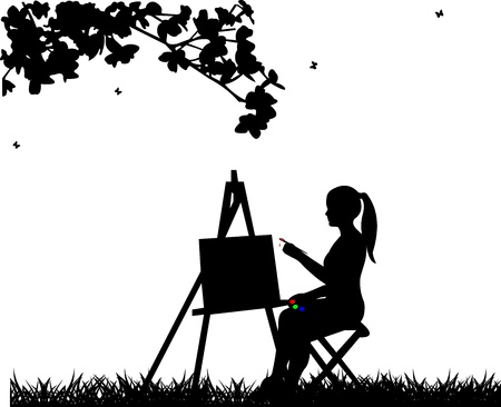 painter girl: Artist painter woman in park painting silhouette, one in the series of similar images  Illustration