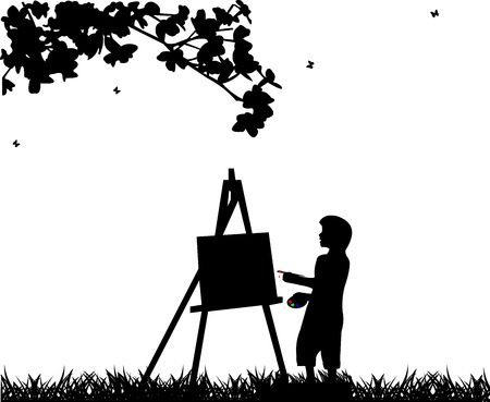 Artist painter boy in park painting silhouette Vector
