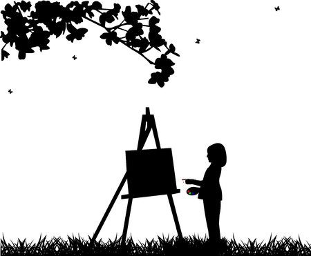 painter girl: Artist painter girl in park painting silhouette, one in the series of similar images