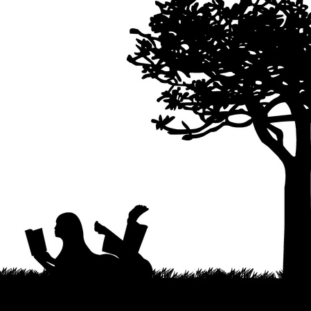 reads: Silhouette of girl reading a book under the tree in spring, one in the series of similar images