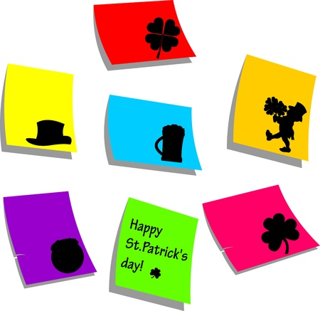 Saint Patrick s day symbols on memo note paper silhouette Vector