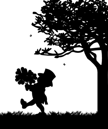 garden gnome: St  Patrick s Day leprechaun carries a trefoil and clover silhouette  Illustration