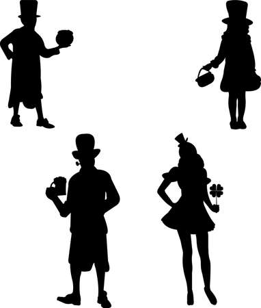 Girl and boy and man and woman in costumes for St  Patrick s day party in leprechaun silhouette Vector