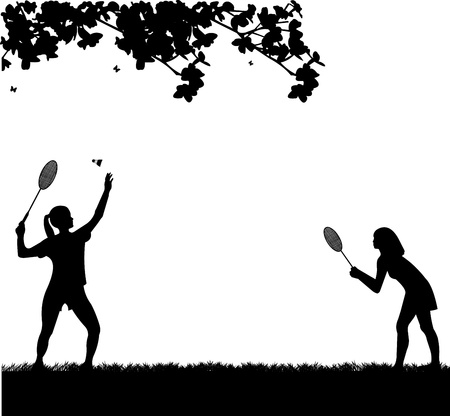 badminton racket: Badminton girls players outdoor in spring silhouette