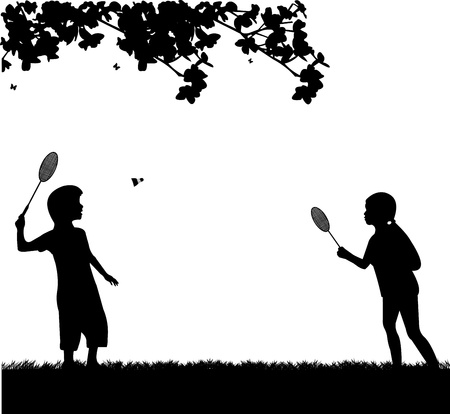 badminton racket: Kids playing badminton outdoor in spring silhouette, one in the series of similar images