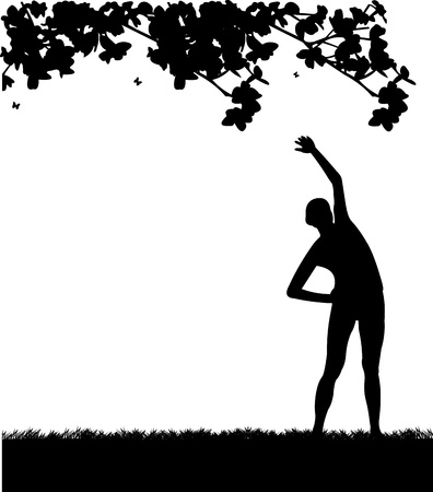 flexibility: Pretty girl exercising flexibility with stretching posture in spring outdoors in park silhouette, one in the series of similar images