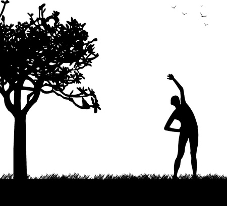 similar images: Pretty girl exercising flexibility with stretching posture in spring outdoors in park silhouette, one in the series of similar images