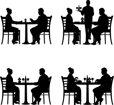 woman eat: Almuerzo de trabajo en el restaurante entre socios comerciales en diferentes situaciones silueta