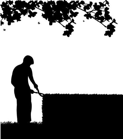 paysagiste: Jardinier coupe un buisson ou un arbre ou haies avec des ciseaux grands silhouette Illustration