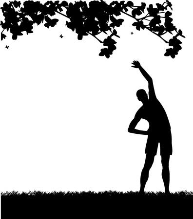 Jonge man te oefenen flexibiliteit met stretching houding in het voorjaar buiten in park silhouet, een in de reeks van gelijkaardige beelden