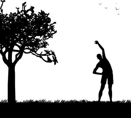 Young man exercising flexibility with stretching posture in spring outdoors in park silhouette, one in the series of similar images Stock Vector - 18516865