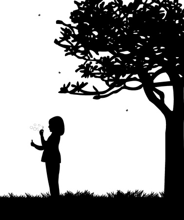 bulles de savon: Enfant soufflant des bulles de savon dans le parc en printemps silhouette, un dans la série d'images similaires