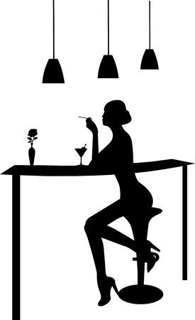 night bar: Chica martini beber y fumar un cigarrillo en una silueta bar